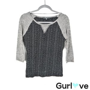 Miss Me Gray Black Tweed 3/4 Sleeve Blouse Size S